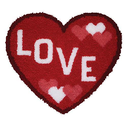 WYOUTDOOR DIY Gancho De Cierre Alfombra Kits De Amor Alfombra Hecha A Mano De La Historieta Encantadora Cojín Bordado Textil Crafts, 52 * 45Cm,Love