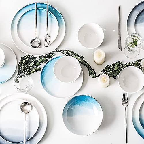 Karid De vajilla de Cocina, Platos y Cuencos Resistentes a Las roturas | Juegos de Cena de cerámica de Esmalte de Color Degradado Euro para reuniones Familiares y Regalos,Azul,12pcs(Service for 4)