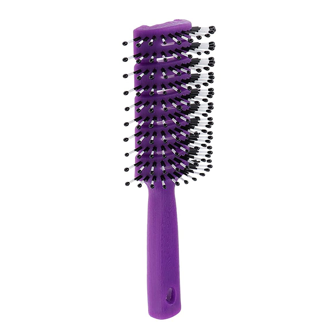 無傷キャンパス文明化ヘアコーム 静電防止櫛 ヘアブラシ 頭皮マッサージ 快適 3色選べ - 紫