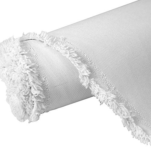 Waterproof Canvas Fabric Outdoor 600 Denier Indoor/Outdoor Fabric by The Yard PU Backing W/R, UV, White (Cut Separate by Yard for Prime Orders)