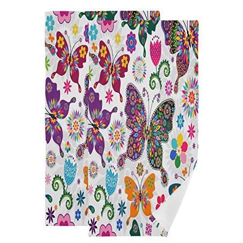 Mnsruu Toallas de baño con flores de mariposa de primavera de secado rápido, altamente absorbentes, toalla súper suave para deportes, spa, viajes, hotel, yoga 36,5 x 72 cm (2 unidades)