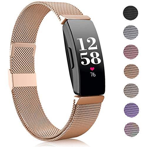 Funbiz Kompatible mit Fitbit Inspire Armband/Inspire HR Armband, Edelstahl Ersatzarmband mit Einzigartiges Schloss Kompatible mit Fitbit Inspire/Inspire HR/Inspire 2/Ace 2, Klein, Königliches Gold
