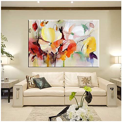 Carteles de Acuarela Flores de Acuarela Modernas Pintura de Pared Flores de Amapola pintadas a Mano Imprimir en Lienzo Decoración de Pared Imagen 19.6'x 27.5' (50x70cm) Sin Marco