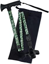 D.S.CARE Foldable Walking Cane with 360 Degree Pivoting Base -Adjustable,Lightweight,Aluminium Print - Green camo Walking Sticks,Shockproof Function adjusts from 32.5 to 39.5 inches.