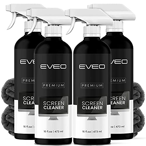 Screen Cleaner Spray (16oz x 4 Pack) - Large Screen Cleaner Bottle - TV Screen Cleaner, Computer Screen Cleaner, for Laptop, Phone, Ipad - Electronic Cleaner - Microfiber Cloth Included