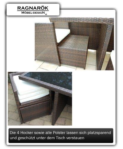 Ragnarök-Möbeldesign DEUTSCHE Marke - EIGNENE Produktion - 8 Jahre GARANTIE Garten Möbel Glas Polster PolyRattan Set Gartenmöbel Tisch Stuhl Hocker BRAUN - 5