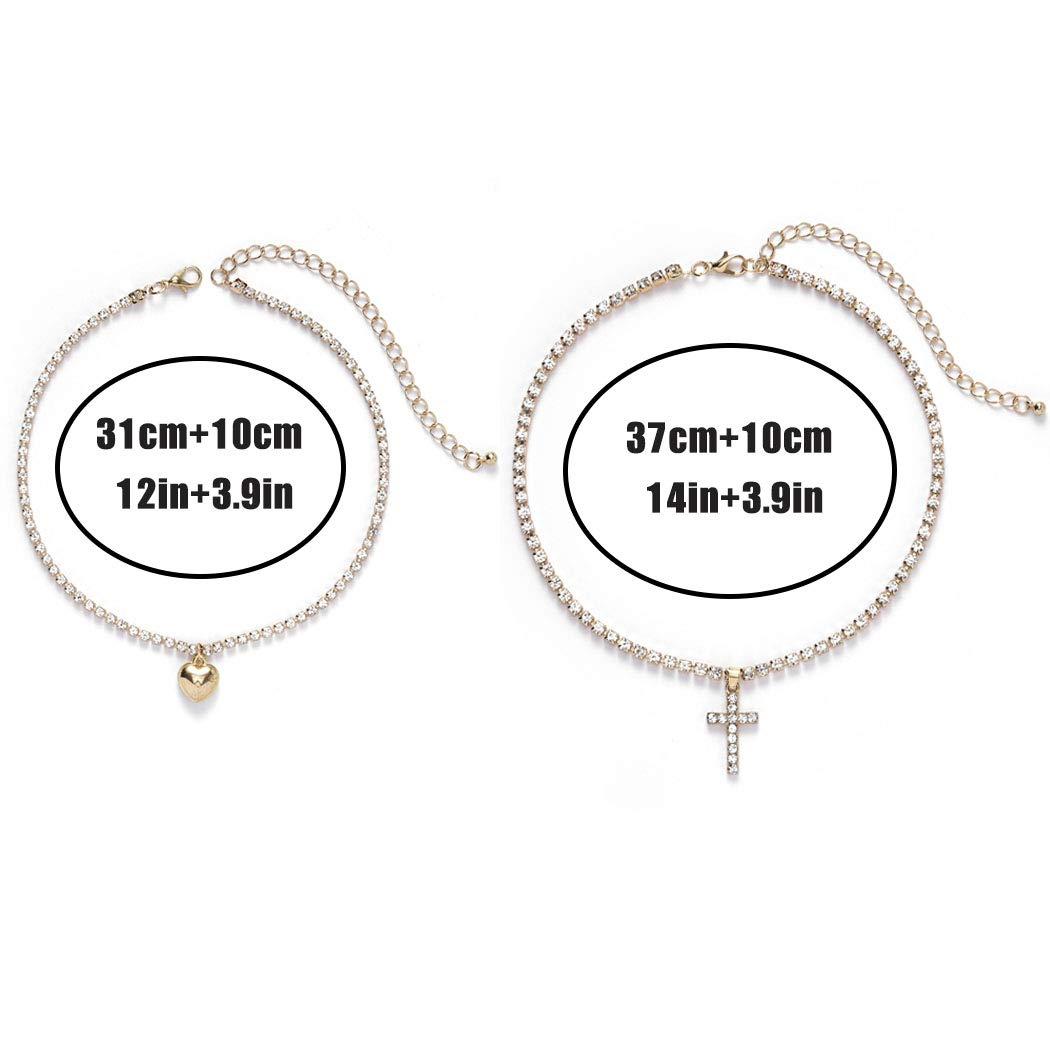 Masiter Sparkly Rhinestone Tennis Necklace Layered Heart Cross Pendant Choker Dainty Chain Birthday Party Costume Jewelry for Women and Girls (style 1)