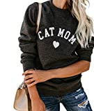 Heymiss Womens Tops Cat Mom Shirt Long Sleeve O Neck Letter Print Tee Dark Grey M