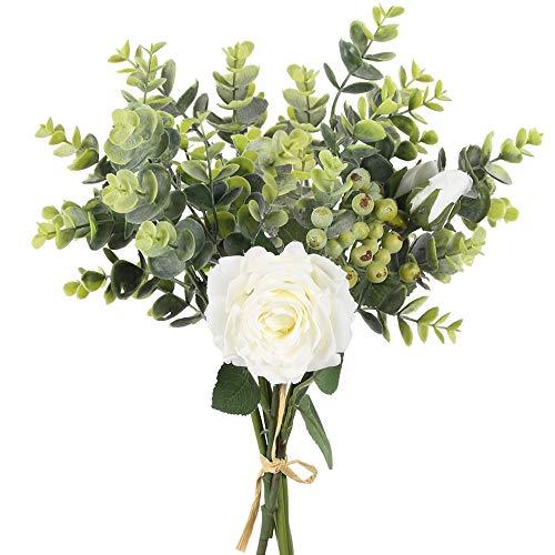 HUAESIN Künstliche Blumen Rosen Kunstblumen Eukalyptus Rosen Blumenstrauß Deko Hochzeit Rosen Seidenblumen für Tischdeko Büro Balkon Vase Wohnzimmer Dekoration Weiß