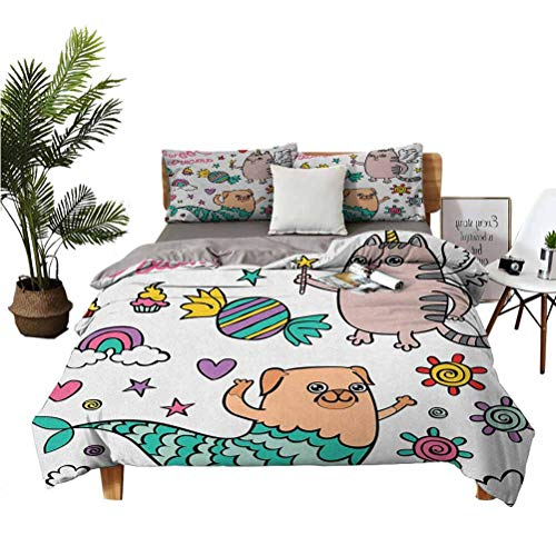LANQIAO Duvet Cover Pug Mermaid and Unicorn Cat Wishing Sweet Dreams Colorful Sweets and Rainbow,Girl Gift Ideas 68x86 inch