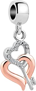 Key to My Heart Charms Rose Glold Heart Beads for Bracelets