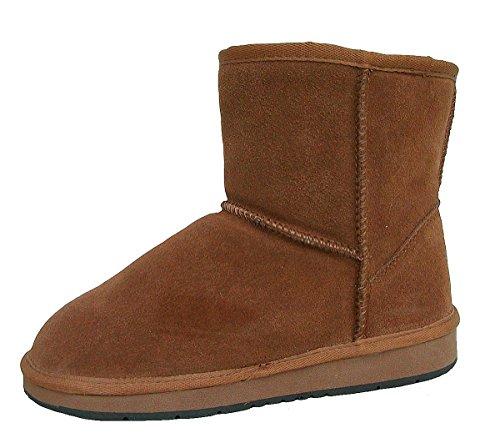 HEITMANN Felle Damen Lammfell Leder Winter Boots Camel, warme Laufsohle, Trendige Profilsohle, Lammfell Futter, Gr. 39