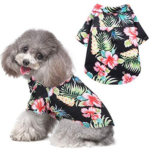 AOFITEE Hawaii-Hunde-Shirt, Sommer-T-Shirt, Aloha-Kleidung, Camp-T-Shirt, niedlicher tropischer Hibiskus-Blumendruck, Haustierbekleidung, Strandkleidung für kleine, mittelgroße und große Hunde, Katzen