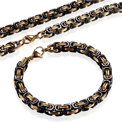 Flongo 2 Stück Herrenkette Armband Set, Edelstahl Halskette Armkette Armreif Kette Königskette Schwarz Gold Herrschsüchtig Biker Punk Rock Herren Männer Accessoires, 56cm