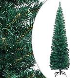 vidaXL Árbol de Navidad Artificial Estrecho y Soporte Decoración Adornos Festivos Navideño Realista Interior Exterior Económica PVC Verde 180 cm
