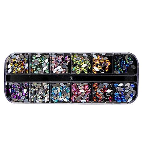 Strasssteine ??für Nageldesign, Nail Art Strass in 12 Perlen Mehrfarben-Kristalle mit flachen Rips für Nageldekoration DIY Nail Art (KQH523)