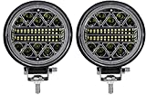 4' LED Round Fog Lights 126W Waterproof Spot Flood Light Pod Off Road Driving Roof for Jeep,SUV Truck, Hunters
