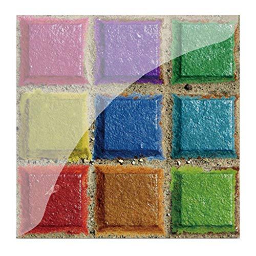 Kasiqi Pegatinas de pared de PVC para decoración de baño, azulejos impermeables para cocina, papel pintado autoadhesivo, 19 piezas de decoración de mosaico adhesivo