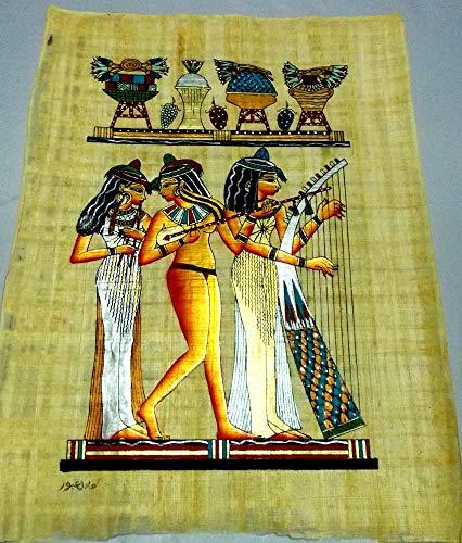 Papiro egipcio Musicos, M2-8 hecho y pintado a mano de Egipt