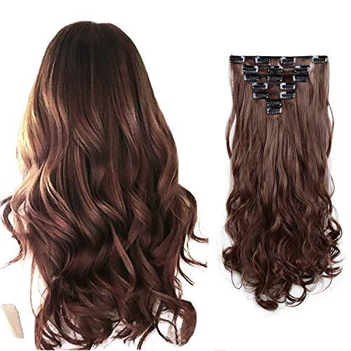 FESHFEN 7PCS extension clip capelli, 50cm Testa piena extension di capelli ricci clip Extension di capelli sintetici lunghi ondulato parrucchino con clip per donna ragazza