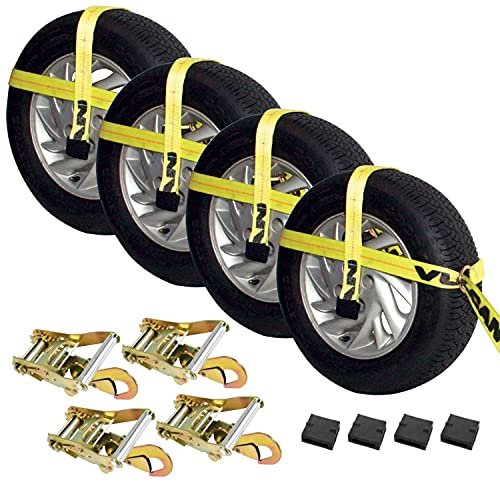 Vulcan Classic Yellow Adjustable Loop Car Tie Down Kit With Snap Hooks (Complete Kit Includes 4 Straps And 4 Ratchets)