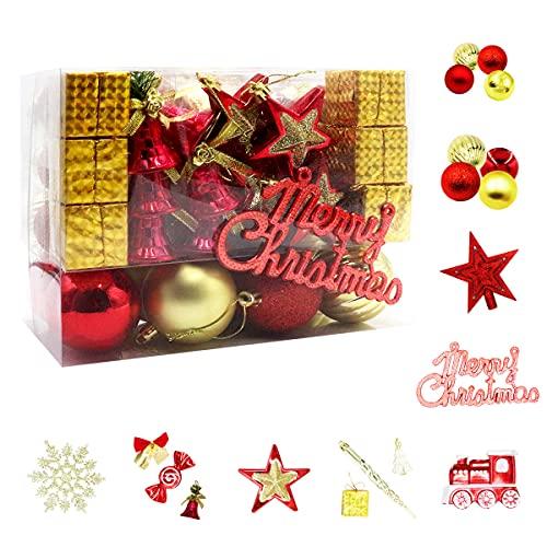 Juego de 83 bolas de Navidad de plástico, en diferentes tamaños y diseños, color dorado y rojo