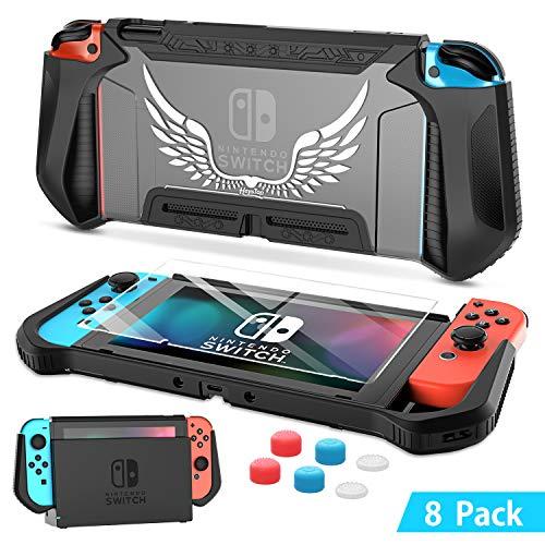 HEYSTOP Custodia per Nintendo Switch, TPU PC Protettiva Cover Case per Console Nintendo Switch Utilizzabile nel Dock con Copri Analogico