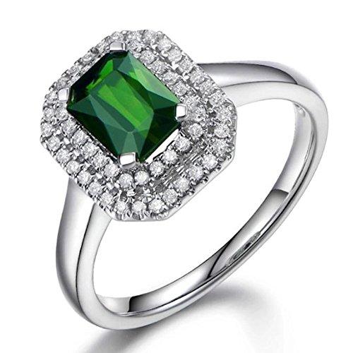 Elegante Joyería fina Naturales Verde Turmalina 14K Oro blanco Diamante Compromiso Boda Anillo Conjuntos para Mujer