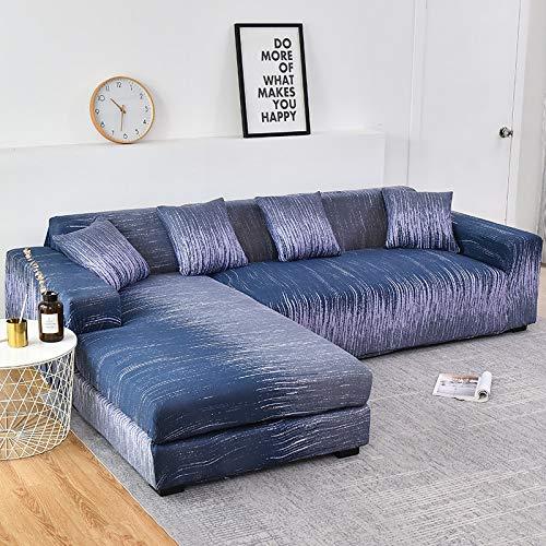 ASCV Fundas de sofá Chaise Longue Impresas en Forma de L para Sala de Estar Protector de sofá Fundas elásticas Antipolvo para sofá de Esquina A4 1 Plaza