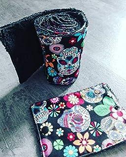 papier toilette lavable, en coton et éponge, zéro déchet, motif squelette mexicain,idée cadeau,fait main, zéro waste