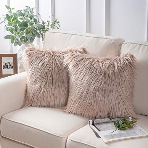Phantoscope Pack of 2 Faux Fur Throw Pillow Covers Cushion Covers Luxury Soft Decorative Pillowcase Fuzzy Pillow Covers for Bed/Couch,Beige 18 x 18 Inches