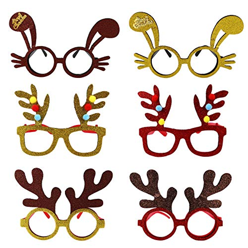 BESPORTBLE 6Pcs Marco de Anteojos de Navidad Dibujos Animados Alce Asta de Conejo Oreja Superior Gafas Divertidas Gafas Vestido de Lujo para Vacaciones de Navidad Favores de Fiesta Niños
