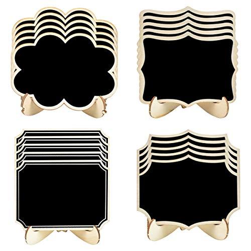 20 Pezzi Mini Lavagna con Supporto, 10 cm x 7,5 cm Piccoli Lavagnette da Tavolo in Legno, 4 Forme Cancellabili Lavagne Tavoli Segnaposto per Feste, Matrimoni, Decorazioni Alimenti di Compleanno