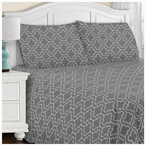 Blue Nile Mills Extra Soft Fitted Sheet, Grey Trellis, Queen