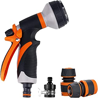Garden Hose Spray Gun Set, 8 Patterns High Pressure Nozzles with Quick Connect Adapters & Faucet Connectors Suit for Car W...