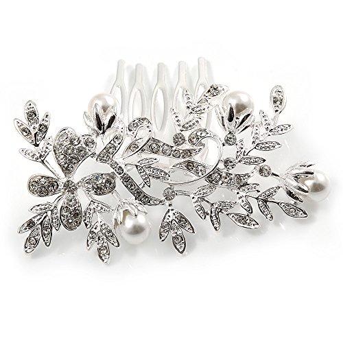 Fermacapelli a pettine, per sposa / matrimonio / ballo scolastico / feste, placcato al rodio, con cristalli austriaci trasparenti e perle di vetro, 75