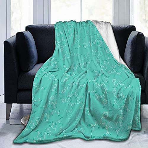 """ONE TO PROMISE Oxytocin - Teal Blanket,Super Soft Cozy Warm Fleece Flannel Throw Blanket,Fuzzy Chic Plush Blanket for Sofa Couch Travel,50""""X40"""""""