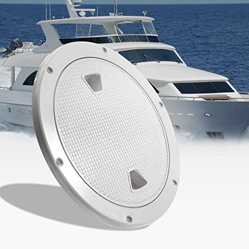 Bay-sun 4 inch Hatch White Round Non Slip Inspection Hatch w/Detachable Cover for Marine Boat Yacht