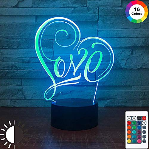 KangYD 3D Nachtlicht Love Symbol Tischlampe, LED Optical Illusion Lampe, A - Black Base Berühren (7 Farbe), Halloween Geschenk, Dekor Lichter, Dekorlampe, Atmosphärenlampe