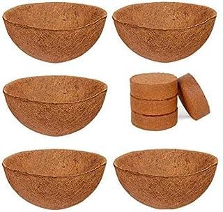 COIR GARDEN-Coco Fiber Liner - Hanging Planter POTS - Coir Liner - Basket Liner 12 INCH - Buy 5 Pieces (GET Coco Disk 4 NO...