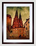 UPPSALA CATHEDRAL SWEDEN GRUNGE BLACK FRAME FRAMED ART