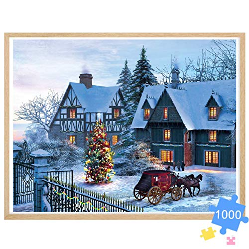 """Adult Puzzle 1000 Piece Jigsaw Puzzle for Adults Christmas Country Snow View Jigsaw Puzzle, Large Size 27.56"""" x 19.66"""" Thicken Cardboard Medium Difficulty for Gift, Toy Fun Game, Decoration"""
