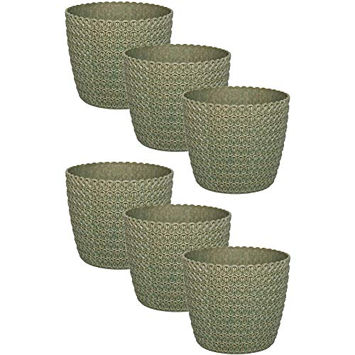 QASIN Eco Planter Plastic 6 Pieces, 10.8 cm Green 30% Wood, Round, Small, Planters from Outside, Inside, Vases from Outside, Vase Flowers, Balcony