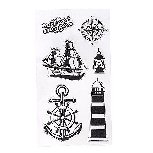 Huayang| 1 Sheet Sailing Boat Mold Transparent Clear Stamps Cling DIY Seal Craft Scrapbook Tool for Kids, Stamp/ Cards Decoration