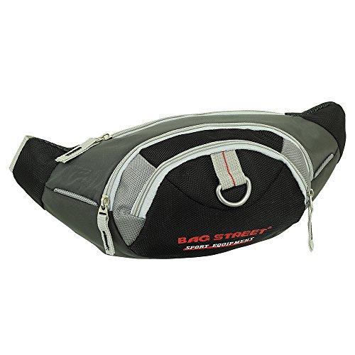 Geschenkset - exklusiver Ledershop24 Schlüsselanhänger + Herren Damen Bag Gürteltasche Bauchtasche Hüfttasche Angeltasche Wimmerl Tasche ca. 25 cm Farbe schwarz-grau