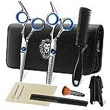 Professional Hair Cutting Scissors Set 9 Pcs Hairdressing Scissors Kit, Hair Cutting Scissors, Thinning Shears, Hair Razor Comb, Clips, Cape, PLYRFOCE Shears Kit for Home, Salon, Barber