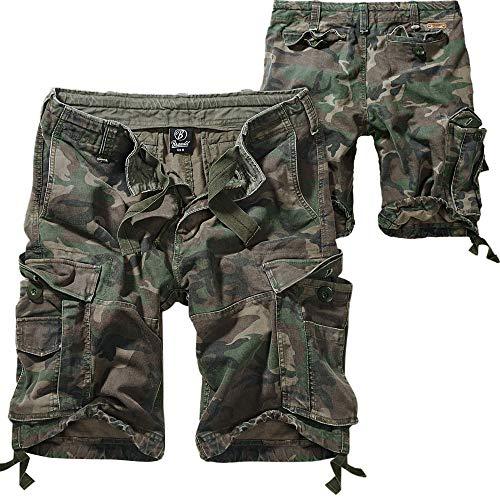Brandit Vintage Shorts Hombre Pantalones Cortos Camuflaje Woodland XL, 100{6cb7e31341ef00634fc5c2bc015a95b5335d71bff29e90aae5286b82171e5e00} algodón, Ancho