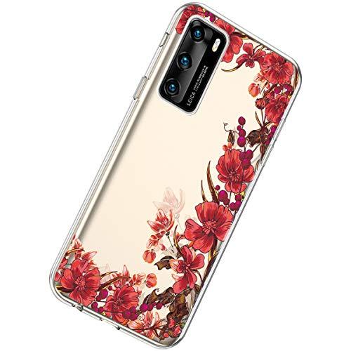 Herbests Kompatibel mit Huawei P40 Hülle Dünne Transparent TPU Schutzhülle Crystal Clear Silikon Stoßfest Hülle Durchsichtig Handyhülle mit Süße Niedlich Muster,Retro rote blumen