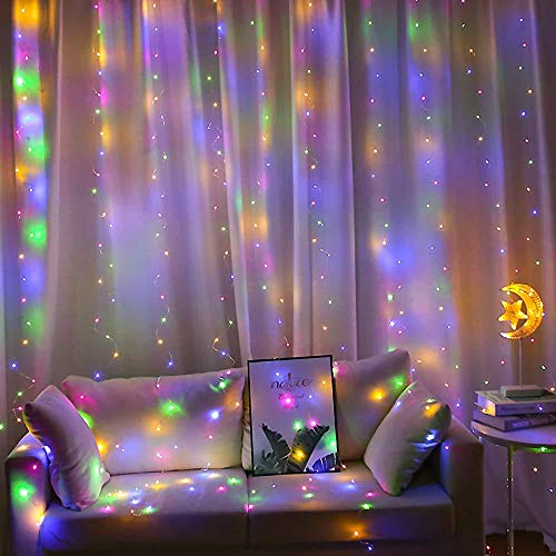 WESSD Led Curtain Fairy Lights 300 LEDs 3M3M String Lights USB Operated Or Battery Powered 8 Modes with Remote &Timer, Waterfall Indoor Outdoor String Lights for Bedroom Wedding Xmas Party Birthday