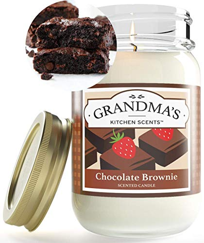 Chocolate Brownie Scented Candles for Home | Non Toxic Long Lasting Soy Candles | Delicious Scent | Large 16 oz Mason Jar | Hand Made in The USA